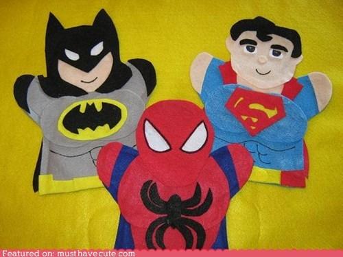 batman,felt,puppet,spideman,superheroes,superman