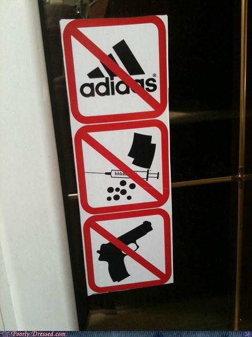 adidas,no shirt no shoes no prob,shoes,sign,warning