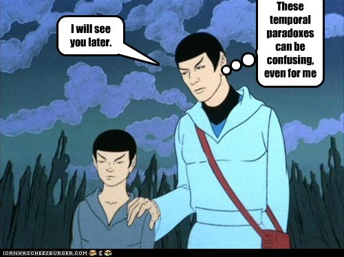 animated series,confusing,Leonard Nimoy,paradox,Spock,Star Trek,time travel,Vulcans