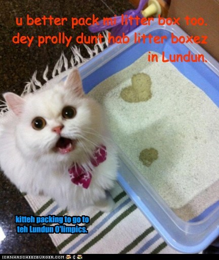 u better pack mi litter box too. dey prolly dunt hab litter boxez in Lundun.