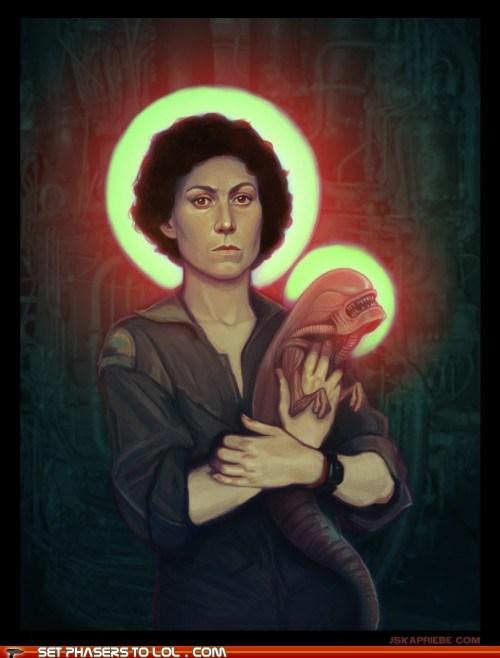 alien,Aliens,art,chest burster,child,Ellen Ripley,painting,sigourney weaver