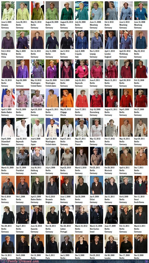 Poorly Dressed: The German Chancellor, in All the Colors of the Rainbow