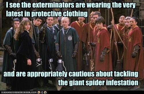 brooms,cautious,Daniel Radcliffe,draco malfoy,emma watson,exterminators,Harry Potter,hermione granger,quidditch,spiders,tom felton