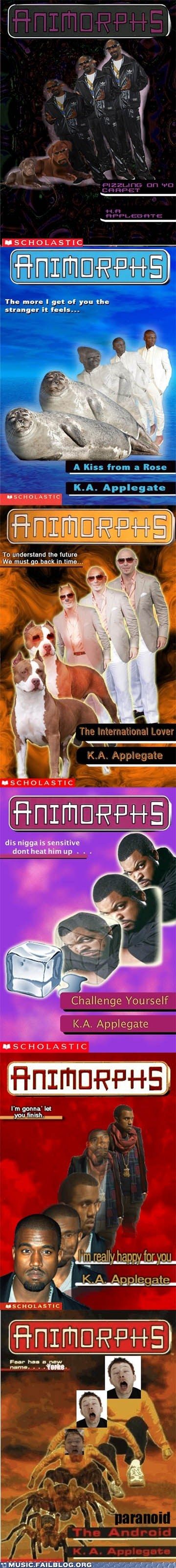 animorphs,ice cube,kanye west,pitbull,radiohead,seal,snoop dogg,Thom Yorke