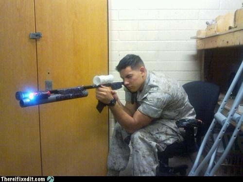army,flashlight,military,pvc pipe,sniper rifle
