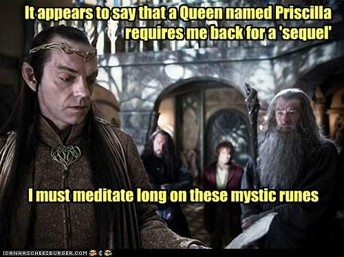 Bilbo Baggins,contract,elrond,gandalf,Hugo Weaving,ian mckellen,Martin Freeman,meditate,Priscilla Queen of the De,royalty,sequel,The Hobbit