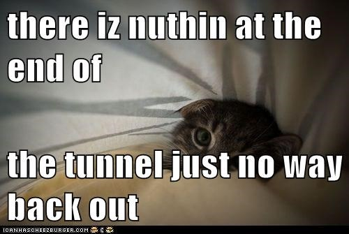 there iz nuthin at the end of  the tunnel just no way back out