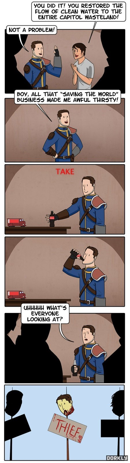 fallout,logic,nuka cola,stealing,video games