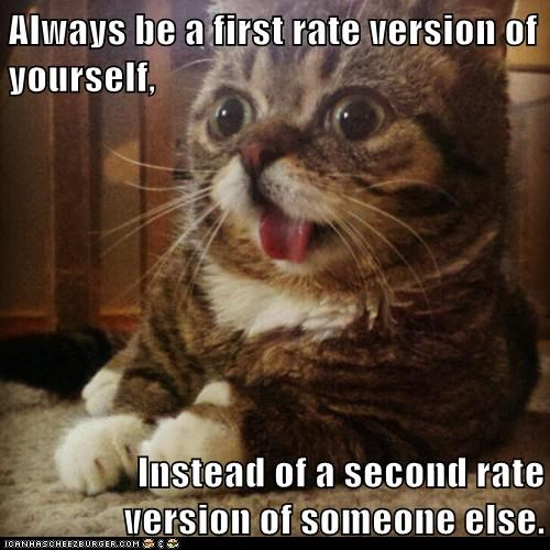 Always be a first rate version of yourself,  Instead of a second rate version of someone else.