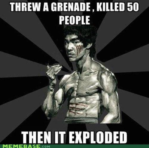 badass bruce lee,bruce lee,grenade,kill,Memes