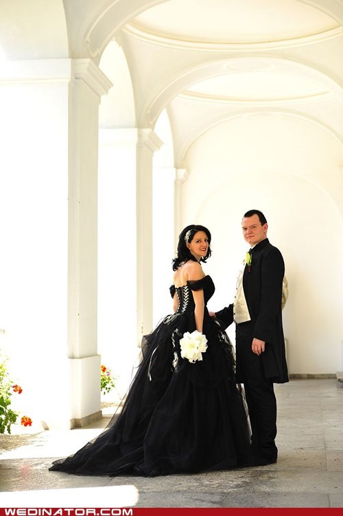 bride,funny wedding photos,goth,groom