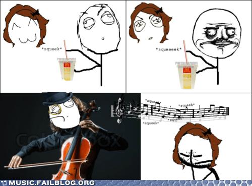 cello,comic,fast food,food,McDonald's,orchestra,rage comic,soda,straw