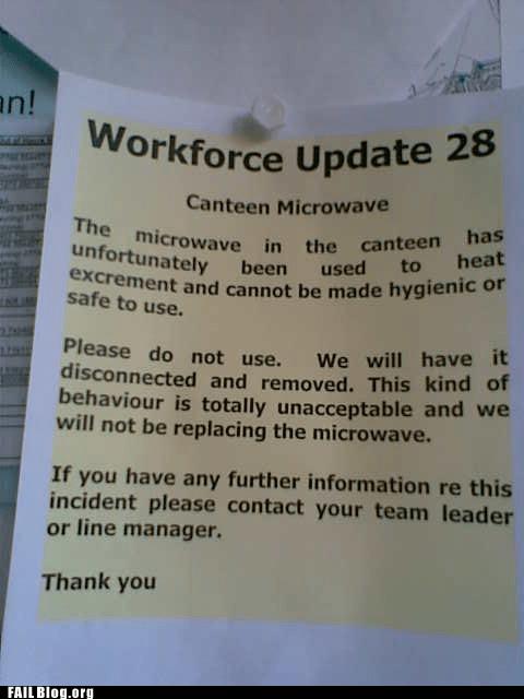 feces,microwave,workforce update