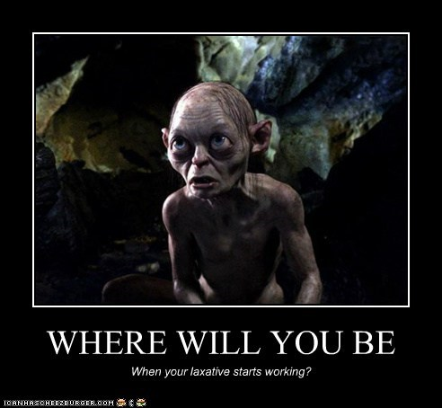 andy serkis,gollum,laxative,Lord of the Rings,oops,worry
