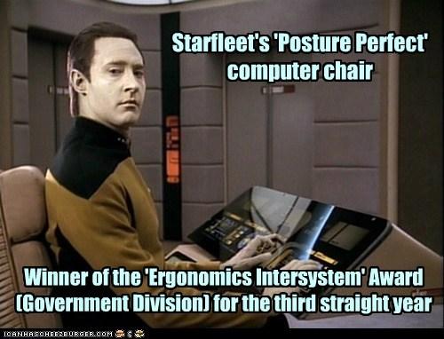 brent spiner,computer chair,data,ergonomics,posture,Star Trek,starfleet,the next generation