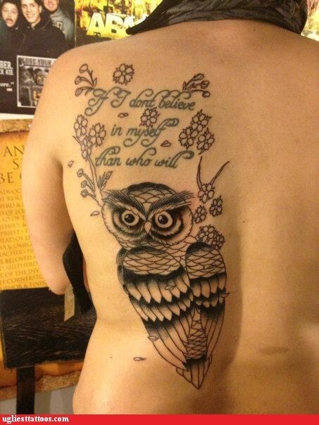 back tattoos,misspelled tattoos,Owl