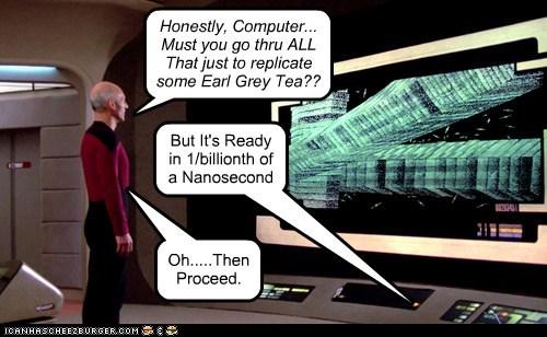 Captain Picard,computer,earl grey,patrick stewart,proceed,replicator,Star Trek,stupid,tea,the next generation