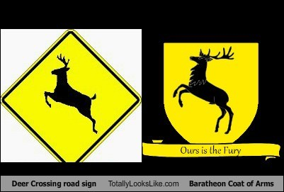 baratheon,coat of arms,deer crossing,funny,sign,TLL