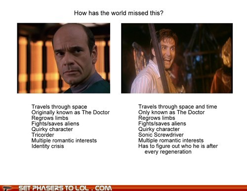 Aliens,David Tennant,doctor who,limbs,regeneration,robert picardo,similarities,star trek voyager,the doctor