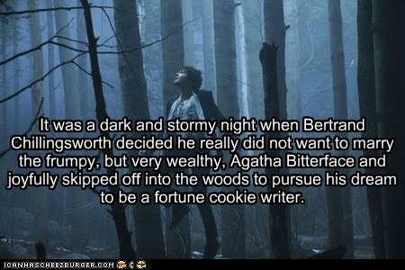dark and stormy night,dreams,fortune cookie,jim sturgess,story,upside down,woods,writer