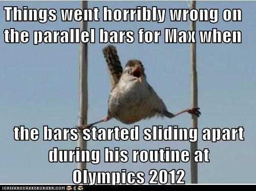 Things went horribly wrong on the parallel bars for Max when  the bars started sliding apart during his routine at                                          Olympics 2012