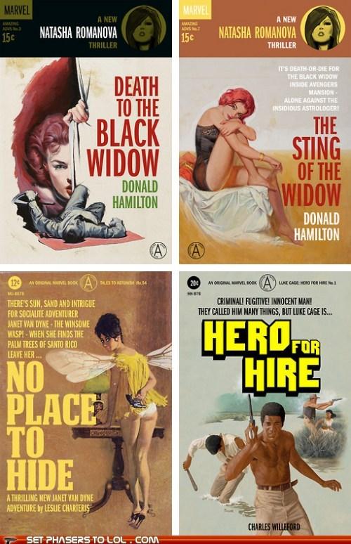 Black Widow,Luke Cage,marvel comics,pulp novels