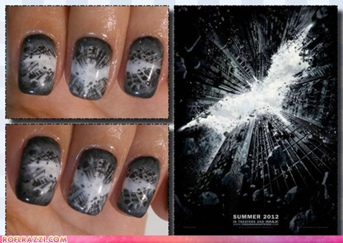 batman,funny celebrity pictures,if style could kill,manicure,nail art,nails,the dark knight rises