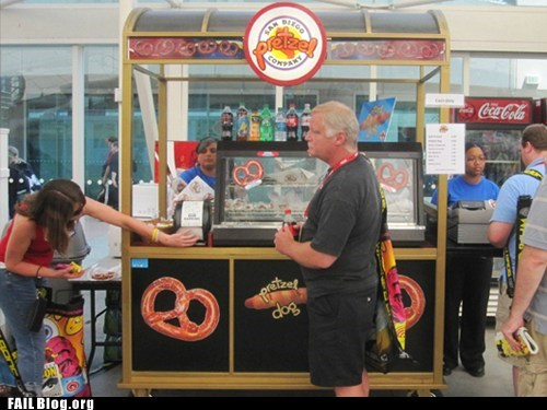 Standing in Front of the Pretzel Cart FAIL