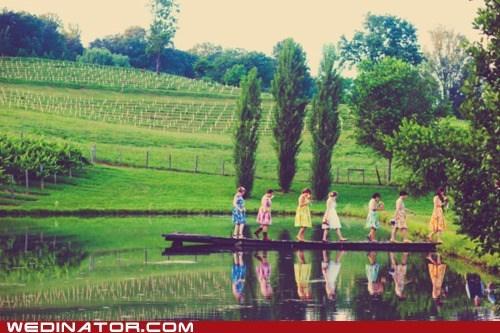 bridesmaids,dresses,farm,funny wedding photos,nature