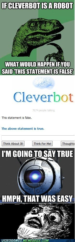 Cleverbot,paradox,Portal,the internets,Wheatley