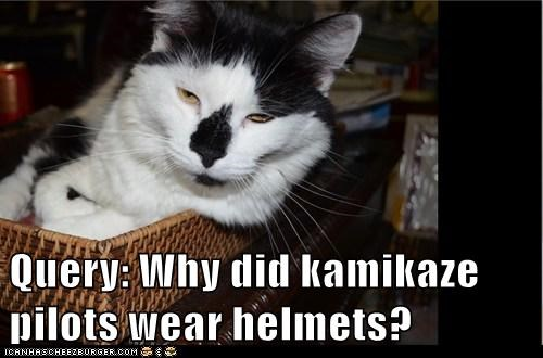 Query: Why did kamikaze pilots wear helmets?