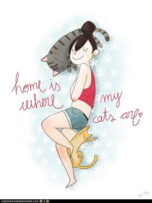Cats,comics,home,illustrations,sayings,sweet