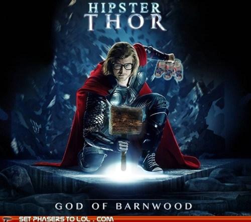 chris hemsworth,god,hipster,mjolnir,pabst blue ribbon,Thor,wood