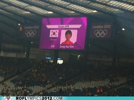 FAIL,jumbotron,korea,London 2012,North Korea,olympics,south korea