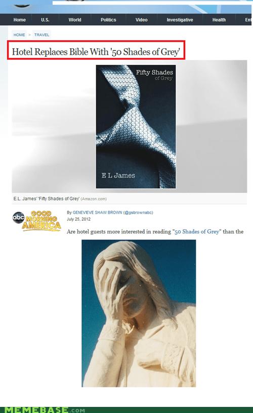 50 shades of grey,bible,hotel california,Memes