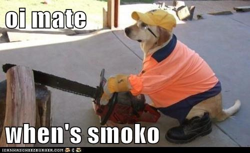 oi mate  when's smoko
