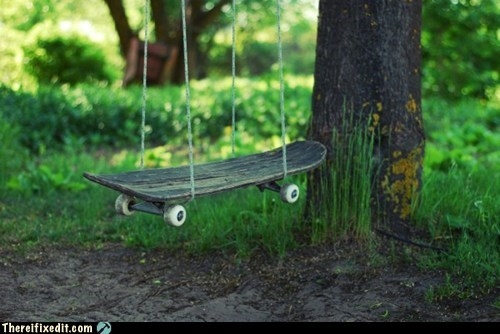 skateboard,swing,tree swing