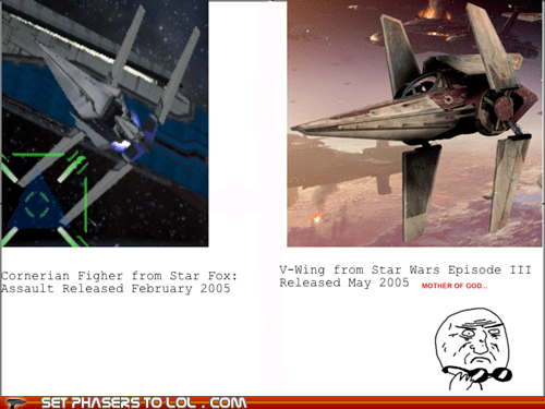 mother of god,rage faces,similarities,space ships,Star Fox,star wars,totally looks like,v-wing