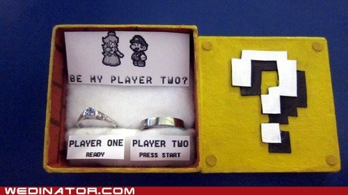 engagement,funny wedding photos,proposal,super mario,video games