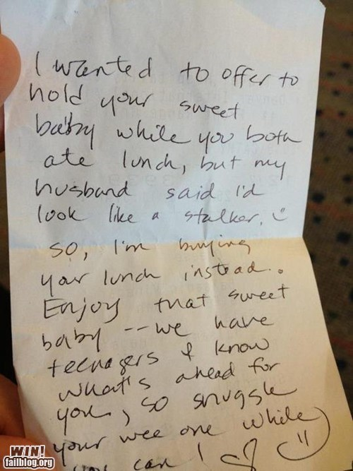 dinner,free meal,nice,note,random act of kindness