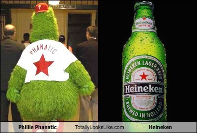 Phillie Phanatic Totally Looks Like Heineken Beer
