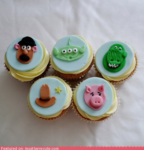 characters,cupcakes,epicute,fondant,movies,toy story