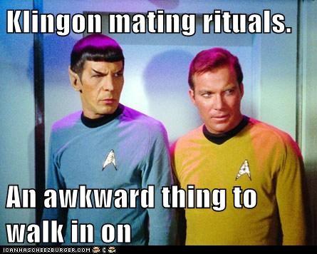 Awkward,Captain Kirk,klingon,Leonard Nimoy,mating rituals,Shatnerday,Spock,Star Trek,William Shatner