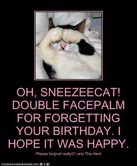 OH, SNEEZEECAT! DOUBLE FACEPALM FOR FORGETTING YOUR BIRTHDAY. I HOPE IT WAS HAPPY.