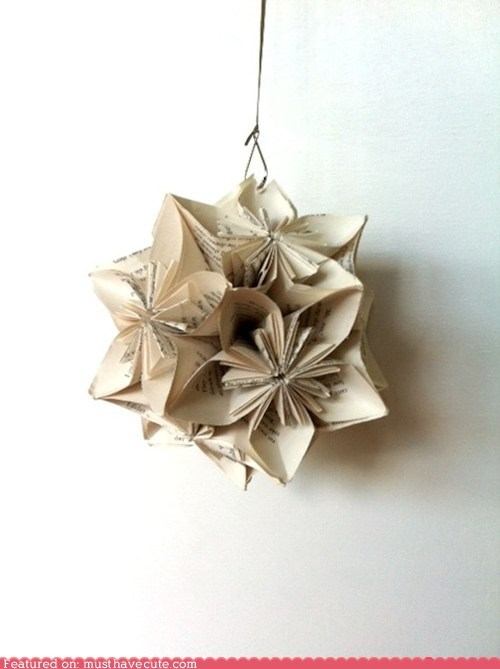 Hanging Book Page Kusudama Decoration