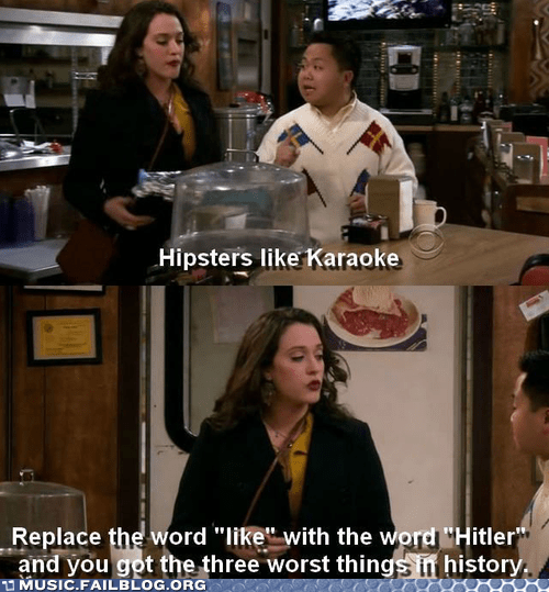 hipsters,hitler,karaoke,screencap,television,TV,Two Broke Girls