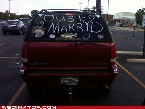 cars,FAIL,funny wedding photos,misspelling,oops