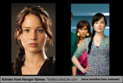Jennifer Lawrence (Katniss from Hunger Games) Totally Looks Like Ashley Rickards (Jenna Hamilton from Awkward)