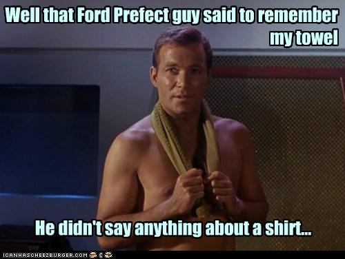 Captain Kirk,ford prefect,shirtless,Star Trek,towel,William Shatner