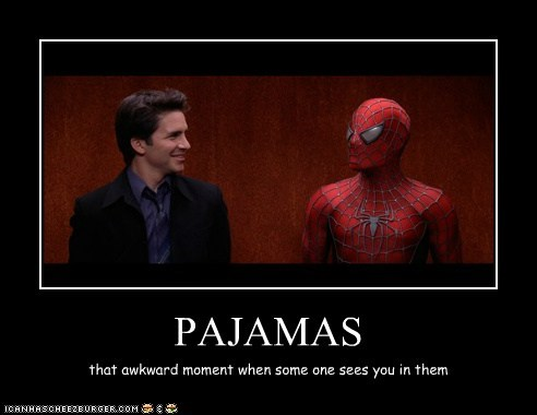 elevator,hal sparks,pajamas,Spider-Man,that awkward moment